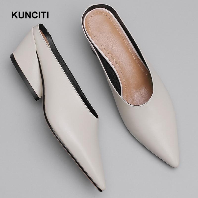 Ayakk.'ten Terlikler'de 2019 Yeni Stil Kadın Deri Terlik Sivri Burun Bayanlar Scuffs Moda Katır Ayakkabı Hakiki Deri Kadın Ayakkabı Bayan T915'da  Grup 1