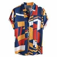 2019 männer kleidung Herren Kontrast Farbe Geometrische Printed Drehen Unten Kragen Kurzarm Lose Shirts Hauts gießen hommes Plus größe
