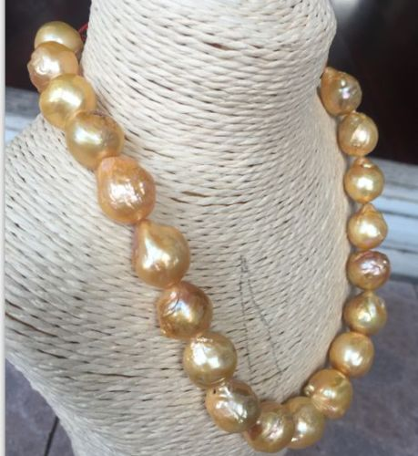 gorgeous 14-15mm south sea keshi baroque white / yellow pearl necklace 18 shipping freegorgeous 14-15mm south sea keshi baroque white / yellow pearl necklace 18 shipping free