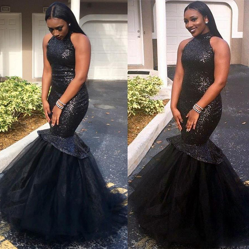 Simple Black Mermaid   Prom     Dresses   2019 High Neck Sequined Top Tulle African Women Black Long Party   Prom     Dress