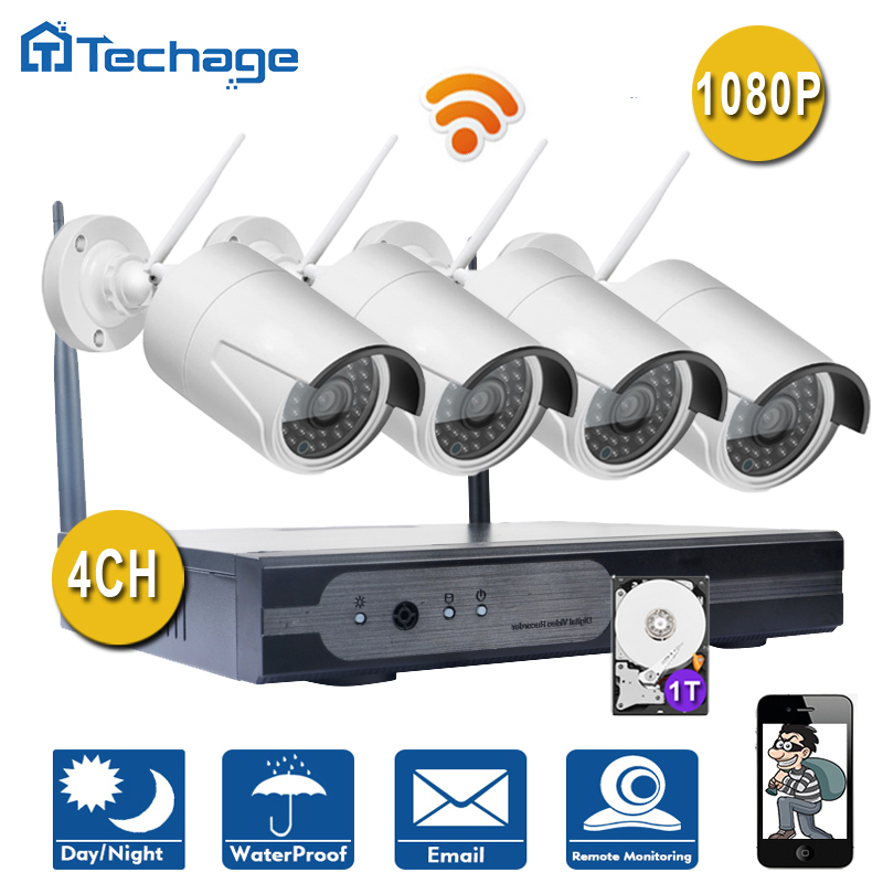 Plug And Play 4CH Wireless NVR Kit P2P 1080P HD Outdoor IR Night Vision IP Video