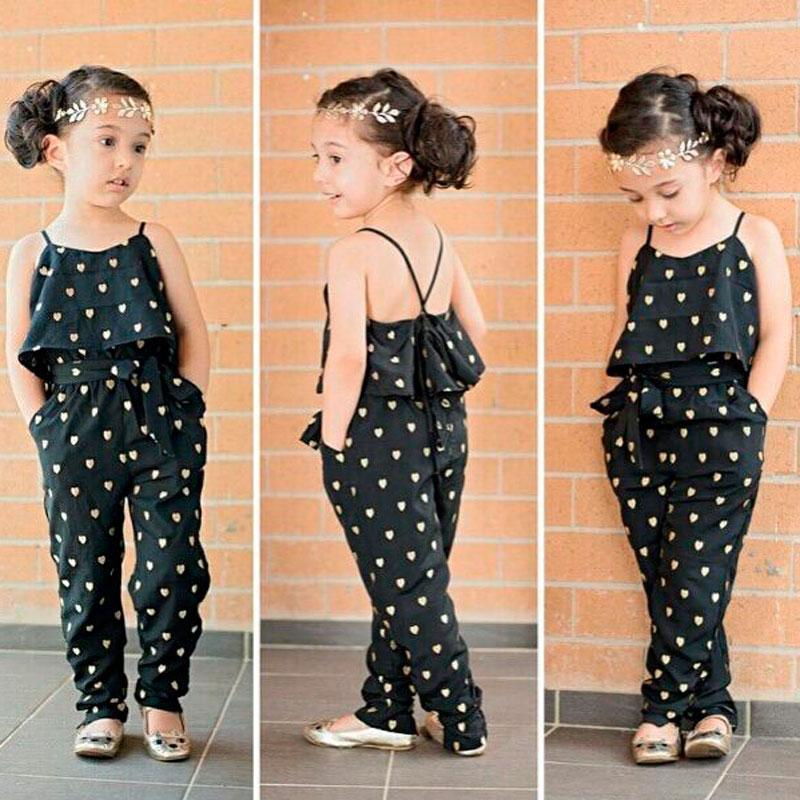 Girls Fashion Love Jumpsuits Siamese Trousers Belt Heart Shaped Belt Pants Children 's Wear Fashion Apparel Summer Exposed Back