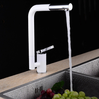 360 Degree Rotation Spout Single Hole White Plainting Hot Cold Water Tap Elegant White Kitchen Faucet