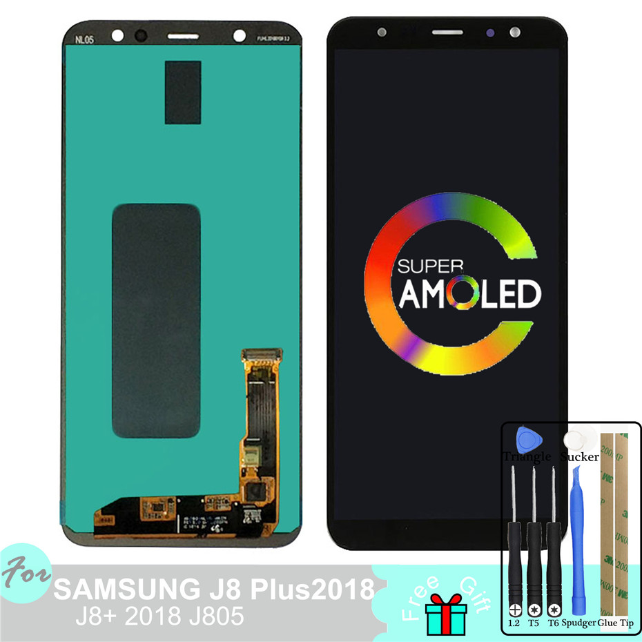 Super Amoled LCD For Samsung Galaxy j8 Plus 2018 j8+ j805  LCD Display Touch Screen Digitizer Pancel 6.4 Adjust BrightnessSuper Amoled LCD For Samsung Galaxy j8 Plus 2018 j8+ j805  LCD Display Touch Screen Digitizer Pancel 6.4 Adjust Brightness