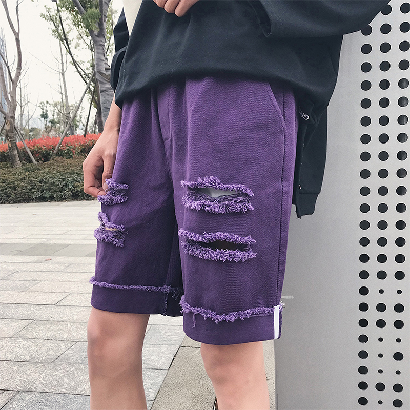 Streetwear Fashion Solid Color Hole Knee Length Elastic Waist Men Shorts 2018 Summer Korean Casual Youth Male Loose Shorts M-2XL