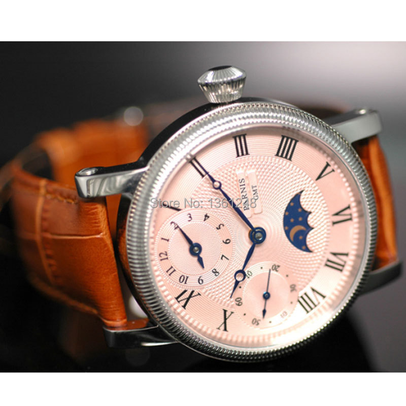 compare prices on moon phase movement online shopping buy low 42mm parnis pink dial gmt moon phase hand winding movement mens watch pa061
