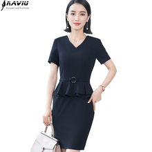 2f1b13e964 2018 verano moda V cuello vestidos de las señoras ol formal negocio hem  Ruffles manga corta slim Mujer ropa Oficina uniformes de.