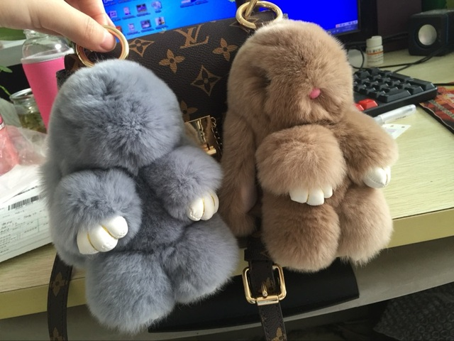 Cute Fluffy Bunny Dolls Keychain Girls School Bag Charm Fashion Cute Youth Girl Purse Handbag Charm Tan Real Fur Rabbit Furry