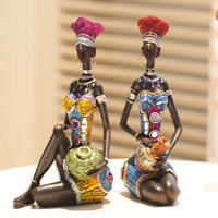 Exotic Style Ornaments Arts Craft Suit Resin Fairy Creative Accessories Garden Decoration Ornaments African Figure Souvenirs