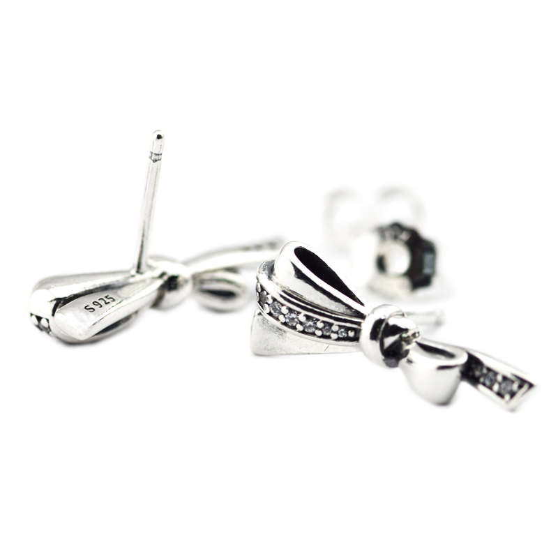 100% Sterling-Silver-Jewelry Brilliant Bows Stud Earring with Clear CZ 100% 925 Silver Jewelry for Women Free Shipping