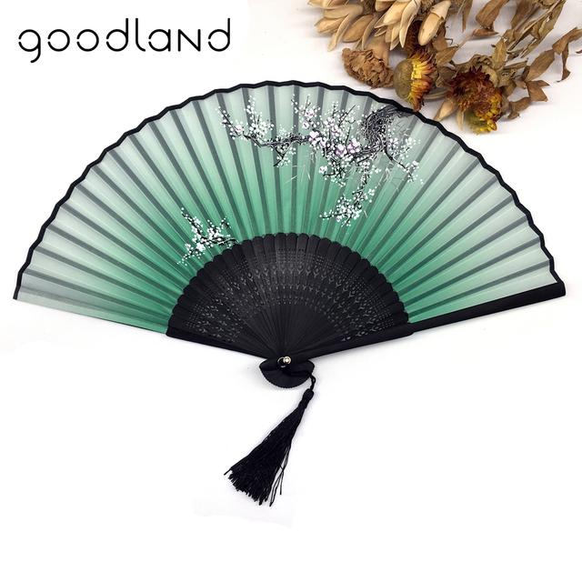 Chinese Spun Silk Flower Printed Foldable  Hand Fan