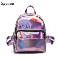 Rdywbu Women Fashion Laser Backpack Multi Color Girl School Bag Female Silver Pu Leather Holographic Big