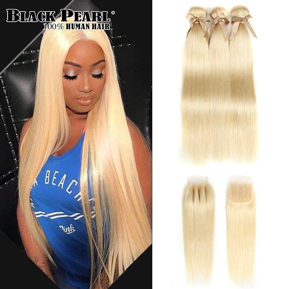 Черный жемчуг 613 блондинка Связки с закрытием Remy бразильский Прямые человеческих волос 3 Связки с Чехол Бесплатная доставка