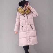 Новый зимнее пальто меховой воротник куртки slim Корейской большой длинные платья хлопка ватник размер свободный