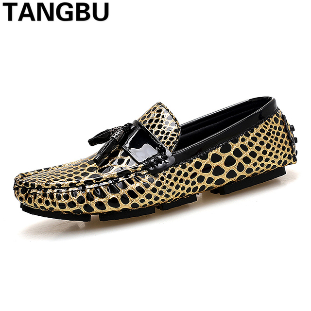 26719d14 Fashion Leopard Print Tassels Men Loafers Slip On Breathable Casual Boat  Shoes Comfortable Driving Shoes For