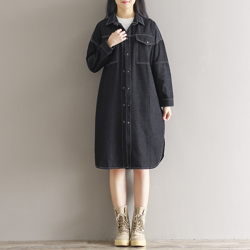 Women Casual Black Long Blue Designer Trench blue Loose Ladies Breasted Fall Coat Solid Denim Button Single For Windbreaker wwBq4H