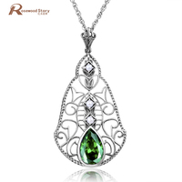 Real Freshwater Pearl Green Stone Pendant Necklace Birthday Gift Solid 925 Silver Crystal Wedding Jewelry Accessories For women