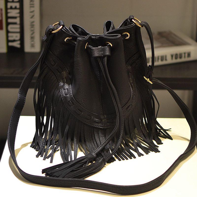 Fashion Ladies Hand Bag Solid Bucket Bolsa Feminina Tassel Leather Women Shoulder Bags Crossbody Bag For Women Luxury CJ484 5