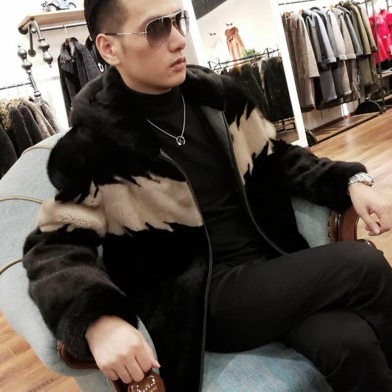 Real Fur Coat Plus Size Natural Mink Fur Coat Winter Jacket Men Real Shearling Outwear for Mens Clothing Veste Homme M001 YY740(China)
