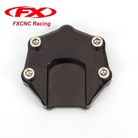 FX CNC Motorcycle Sidestand Plate Kickstand Extension Pad Foot Enlarger Extension Plate Pad Aluminum For Universal All years