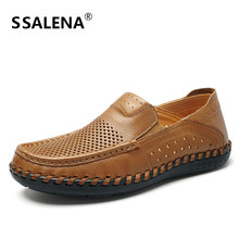 Flats homens de Couro Sapatos Casuais Masculino Oco Malha Respirável Ao Ar Livre Sapatos Oxford Homens Sapatos Confortáveis Antiderrapante Qualidade AA52059