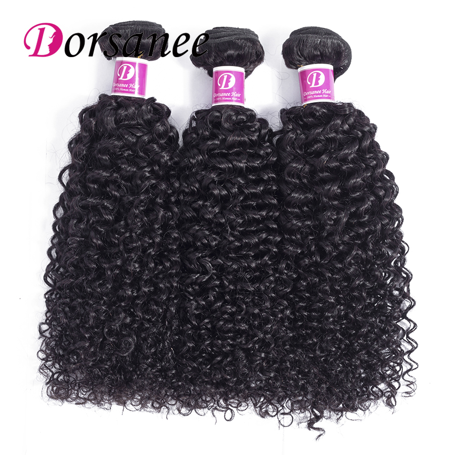 Dorsanee Afro Kinky Curly Weave Human Hair 3 Bundles Natural Black Brazilian Hair Weave Bundles 10-26 Non-remy Hair