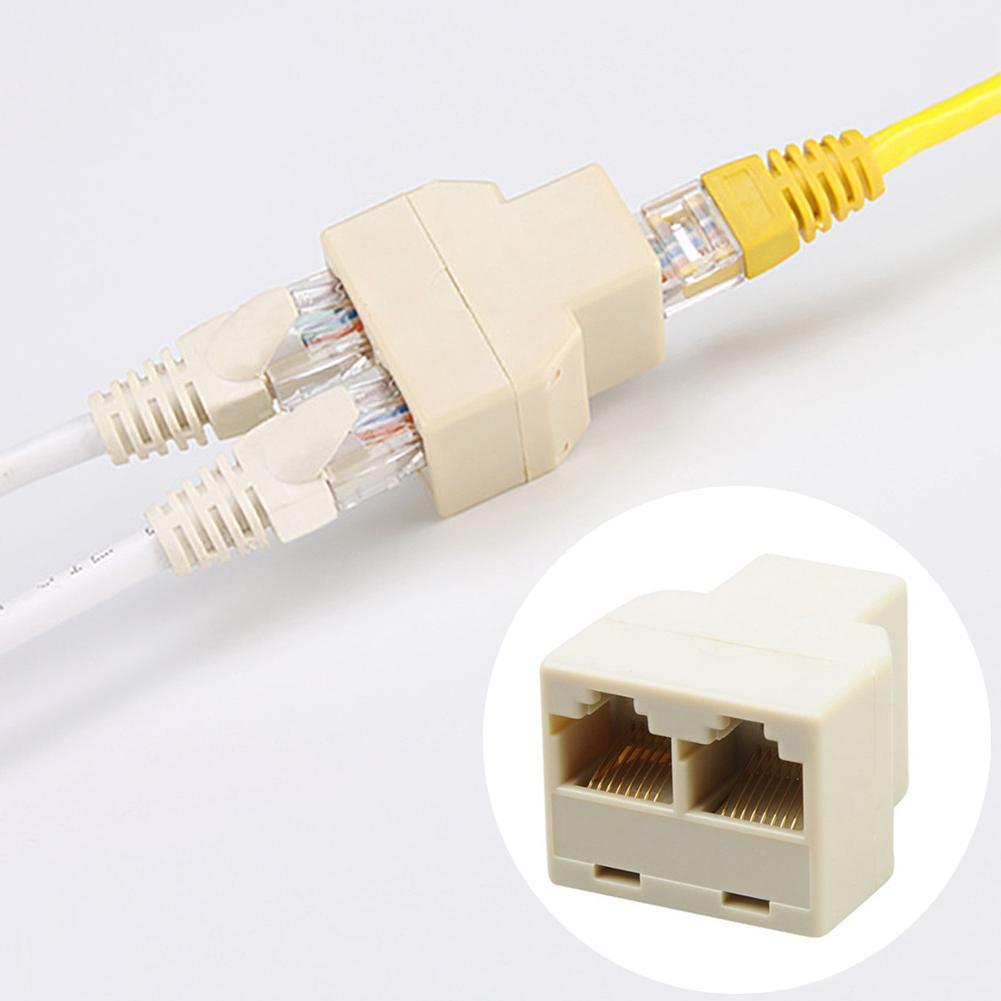 Hot Sale 1 To 2 Way Dual Female Cat6/5/5e RJ45 Lan Ethernet Network Splitter Adapter