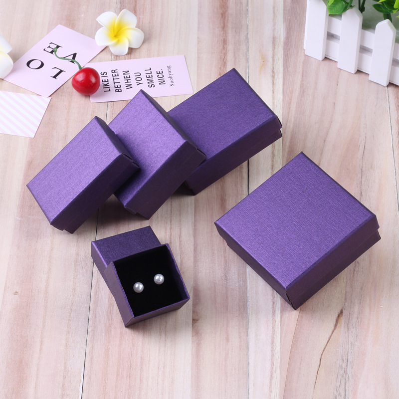 24pcs Square Jewelry Packaging Box 9*7cm Purple Paper Necklace Ring Earrings Bracelet Gift Box For Valentine's Day High Quality