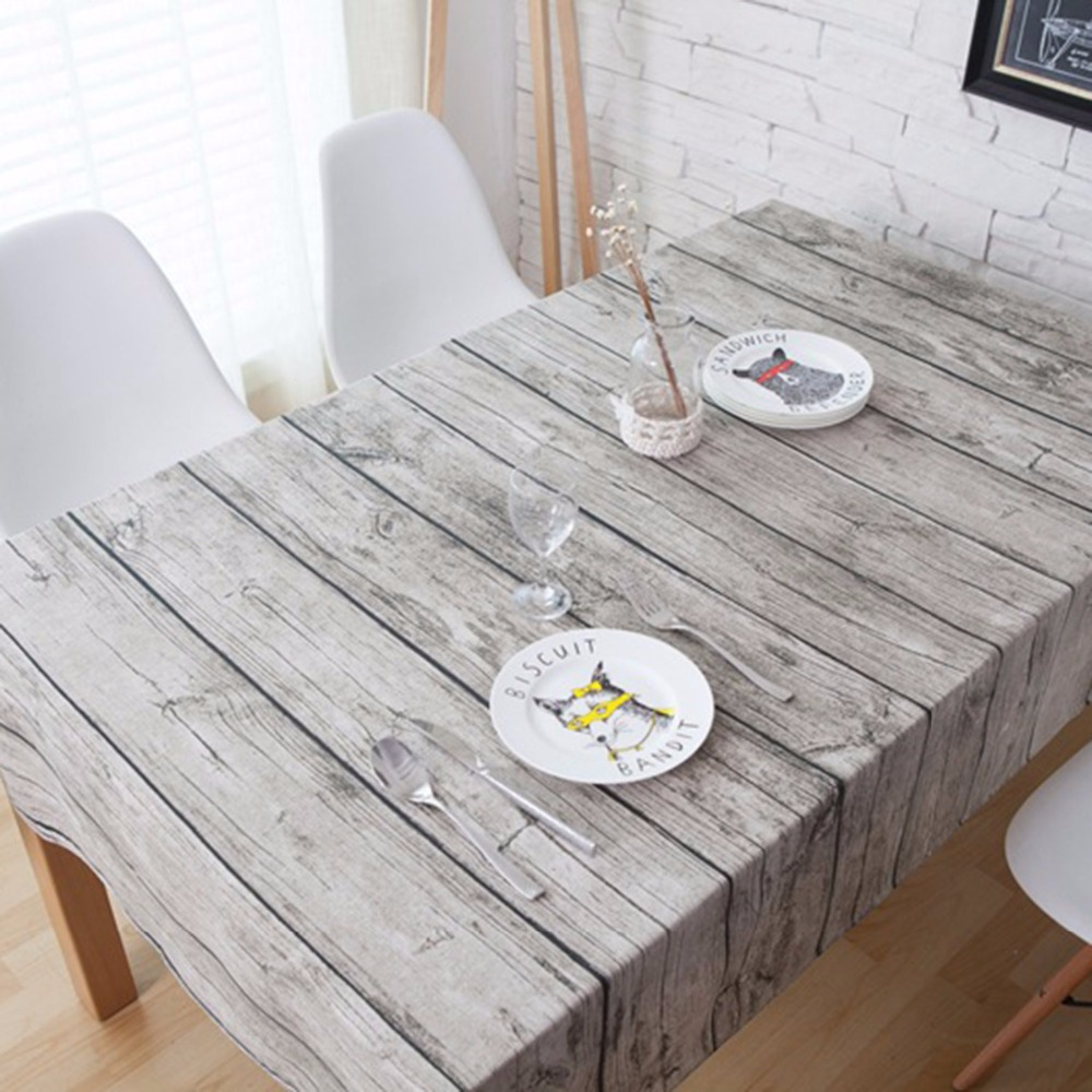 Nosii 70x70cm 90x90cm Retro Wood Grain Tablecloth Cotton Linen Table ...