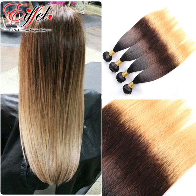 Ombre Hair Extensions Brazilian Virgin Hair Straight Blonde Color 3