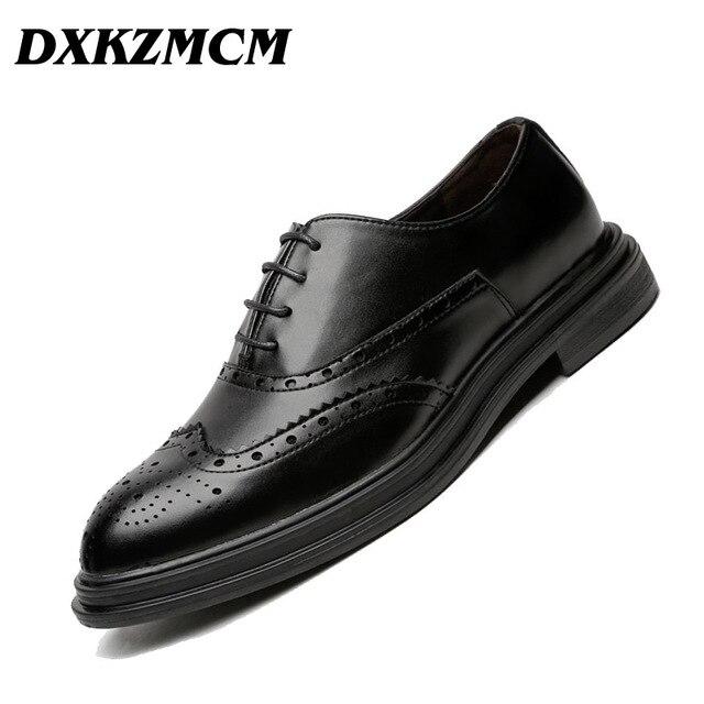 e547355c230b DXKZMCM Men Leather Shoes Handmade Men's Dress Brogue Shoe Classic Loafers  Footwear Business Party Office Wedding