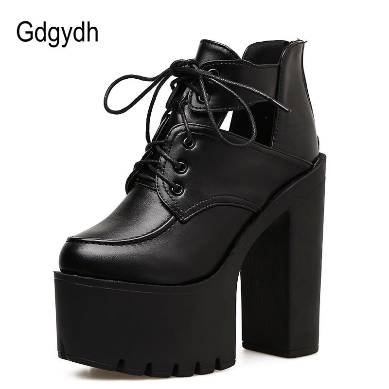 Gdgydh 블랙 스프링 부츠 여성 플랫폼 레이싱 두꺼운 발 뒤꿈치 가죽 파티 신발 울트라 하이힐 고딕 신발 여성을 잘라 내기-에서앵클 부츠부터 신발 의  그룹 2