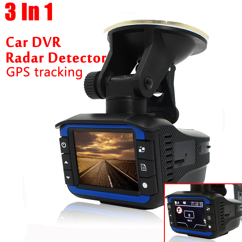 3 In 1 Car Radar Detector GPS Tracker DVR Alarm System Warning Device 2.0 Inch Display 140 Degree Lens Russian Version 4f car obd2 ii manual switch hud overspeed warning windshield projector alarm system head up display interior lighting