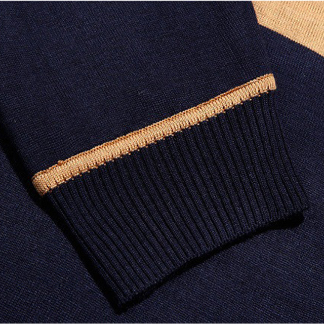 Spring Autumn England Style Men Knitted Striped Casual Wool Pullover