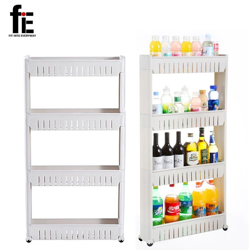 FiE Multipurpose Shelf With Removable Wheels Crack Rack Bathroom Storage Storage Rack Shelf Multi-layer Refrigerator Side Shelf