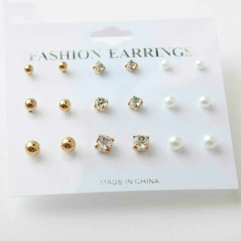 RONGBIN 9 Pairs/lot Fashion Small Metal Stud Earrings Set Women Female Simulated Pearl & Crystal Copper Ear Studs Jewelry