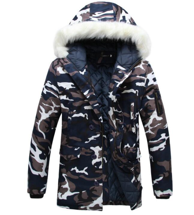 Camouflage Parkas Winter Jacket Men Military Style Medium-long Hooded Winter Coat Cotton-Padded Warm Jackets Plus Size