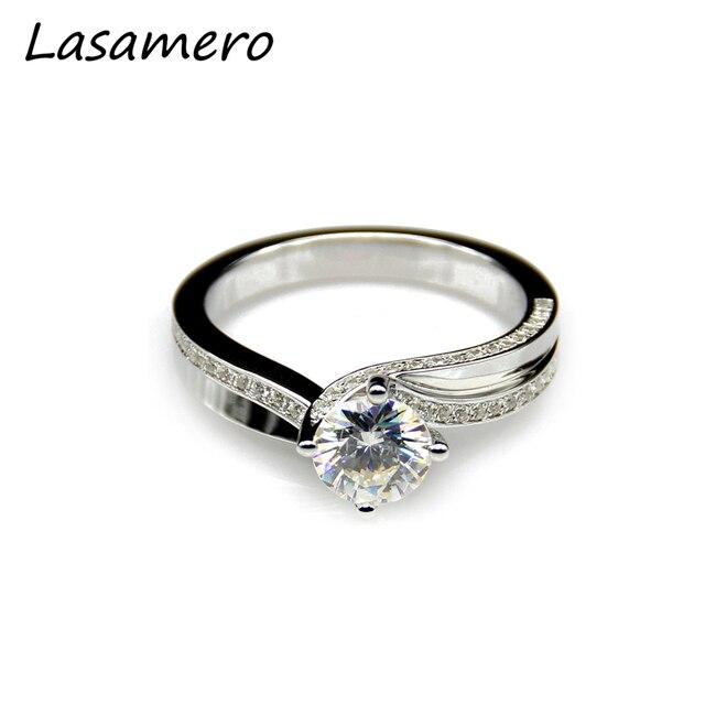 Lasamero 1 Carat Moissanites 14k White Gold Engagement Rings Solid Lab Grown Diamond Wedding