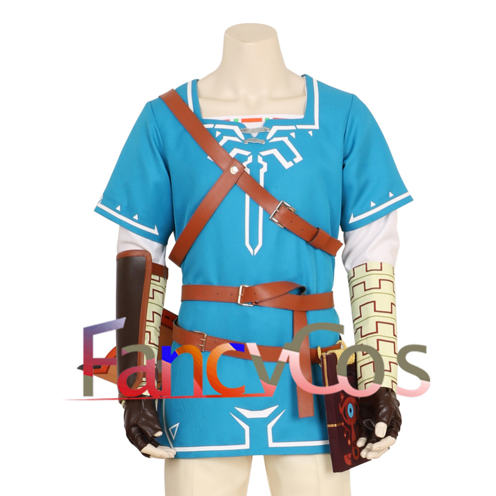 Halloween The Legend of Zelda Breath of the Wild Link Costume Cosplay Blue Coat Blue Shirt  Game Anime Japanese