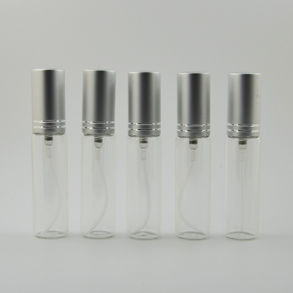 5ml 100 pieces lot Free Shipping Glass Perfume Bottle Pump Spray With Silver Cap Sprayer Atomizer