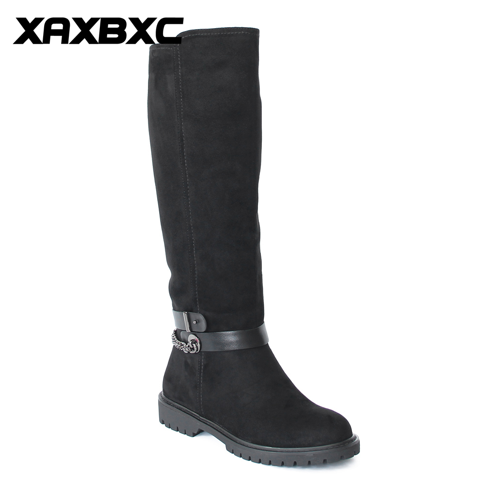 XAXBXC Retro British Style Pu Leather Plush Black Long Boots Women Boots Metal Chain Round Toe Handmade Casual Lady Shoes 2017 new autumn winter british retro men shoes zipper leather breathable sneaker fashion boots men casual shoes handmade