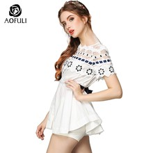 size-S/5XL Ladies Crochet Casual Blouses Shirts Hollow Lace Shirt Women Short Sleeve Tops Summer Boutique Clothes Y790(China)