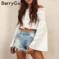 BerryGo Off Shoulder Embroidery White Blouse Shirt Women Soft Cotton Ruched Summer Blouse Flare Long Sleeve