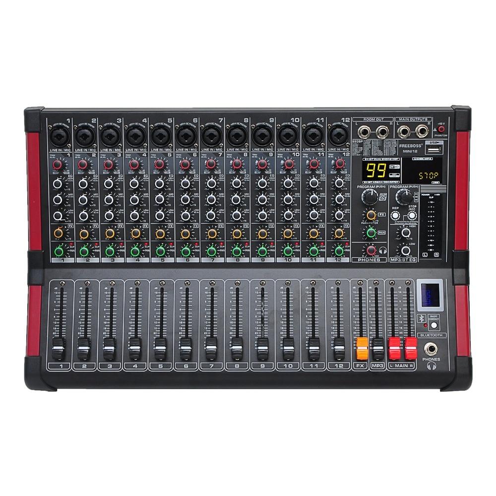Freeboss MINI12 enregistrement Bluetooth 12 canaux (Mono) 99 DSP effet USB fonction de lecture et d'enregistrement table de mixage Audio professionnelle