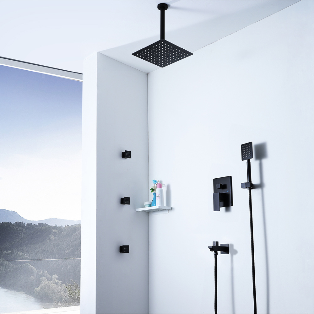 Ultra Thin Rainfall Black Shower Head Hot And Cold Brass Shower Faucets Embedded Box With Shower Body Jets Massage