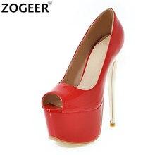 fd4c0b921c71 16CM Extreme High Heels Fashion Women T-show Shoes Peep Toe Platform Patent  Leather Women Pumps Red Ladies Party Wedding Shoes