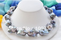 Jewelry 925 real freshwater natural pearl necklace for women long designs Rare HUGE black baroque keshi Reborn necklace