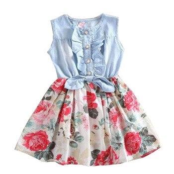 f1e6881b3 Niños ropa de bebé niñas verano algodón Denim Floral tutú vestidos para  niñas Nuevo 2018 vestido de princesa 1 2 4 5 6 7 8 9 10 11 años 26