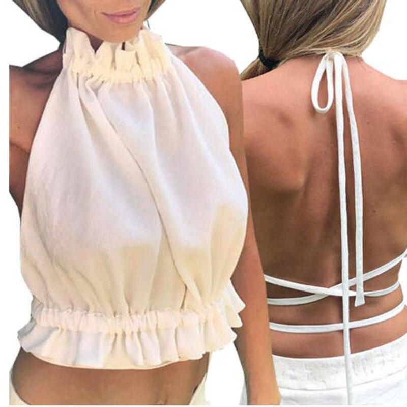 Tees Neck-Off-Shoulder HALTER Tops T-Shirts Camisole Tanks White Women Sleeveless Summer