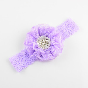 Image 5 - 50pcs/lot 3.5 inch Large Lace Flower Sew Rhine stone Centered with Elastic Lace Headband girlgirl Headdress 10 Colors FDA201
